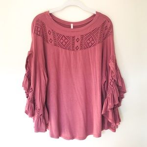 My Story Crochet Ruffle Sleeve Top